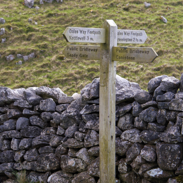 """""""Signpost in Yorkshire Dales, Dalesway and Public Bridleway"""" stock image"""