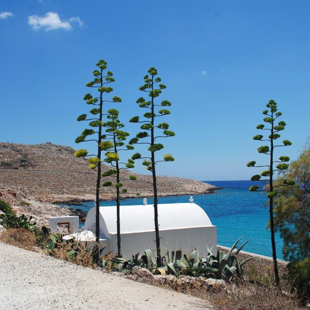 """Seafront chapel, Halki"" stock image"