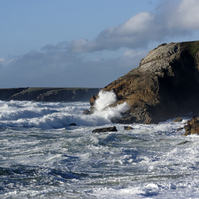 """Waves at the Quiberon wild coast"" stock image"
