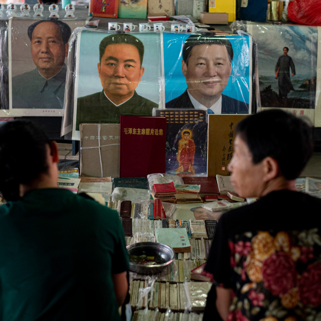 """""""Dealers selling their antique books and famous chinese people posters at the..."""" stock image"""