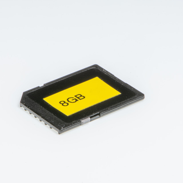 """Detail of an 8 Gigabytes storage memory"" stock image"
