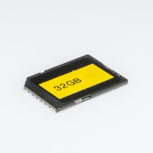 """Detail of an 32 Gigabytes storage memory"" stock image"