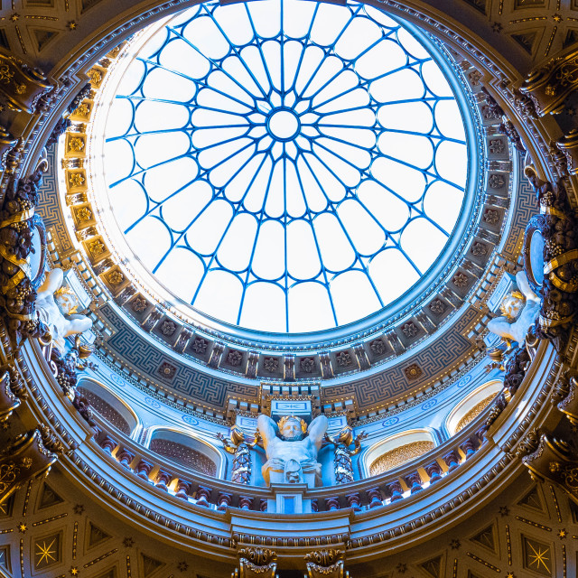 """""""Fitzwilliam Museum domed entrance ceiling."""" stock image"""