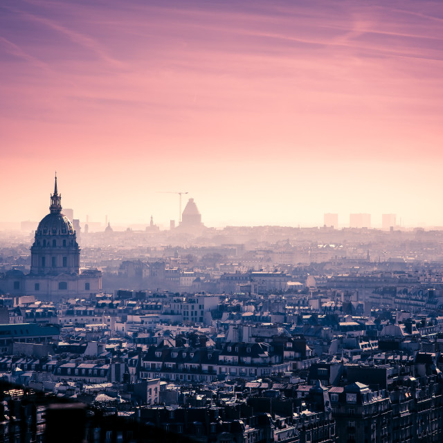"""Paris skyline at sunris, France"" stock image"