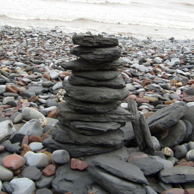 """Slate stone stack on beach"" stock image"