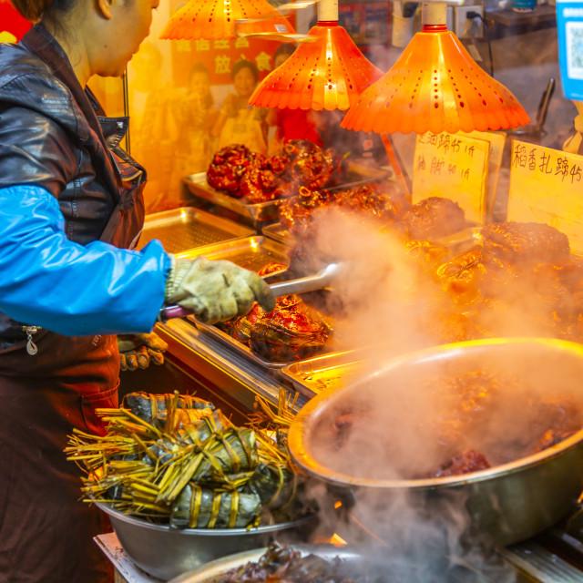 """""""View of local produce stall in Zhujiajiaozhen water town, Qingpu District,..."""" stock image"""