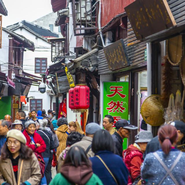 """""""View of busy shopping street in Zhujiajiaozhen water town, Qingpu District,..."""" stock image"""