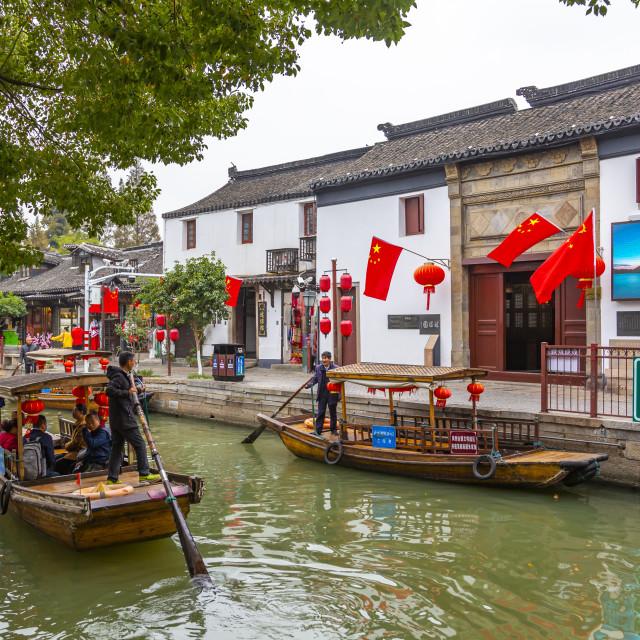"""""""View of boats on waterway in Zhujiajiaozhen water town, Qingpu District,..."""" stock image"""