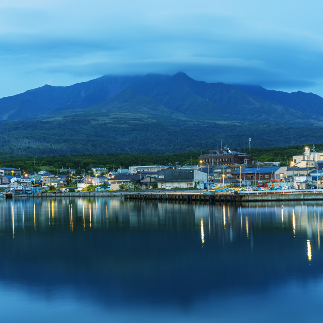 """Japan, Hokkaido, Rishiri island, Rishiri town harbour"" stock image"