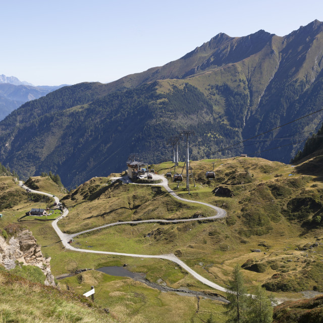 """""""View towards the mid-station of the Panoramabahn gondola style cable car on..."""" stock image"""