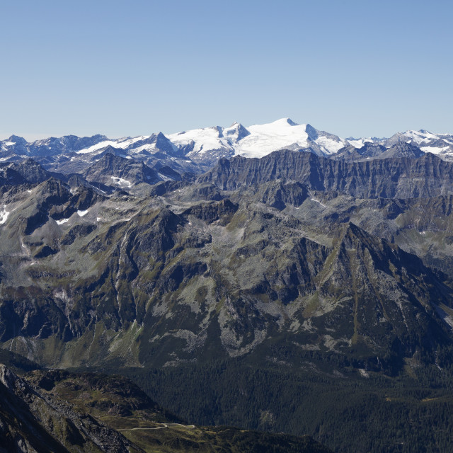 """""""Snow-capped mountains in Hohe Tauern National Park, seen from the 'Top of..."""" stock image"""
