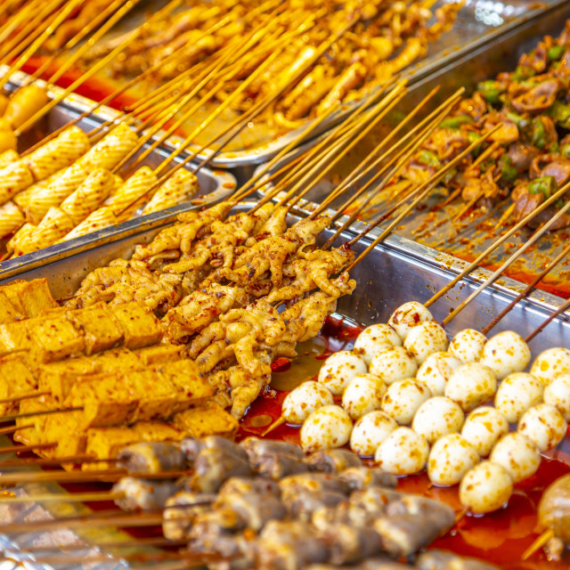 """""""Local delicacies on display in Ciqikou Old Town, Shapingba, Chongqing, China,..."""" stock image"""
