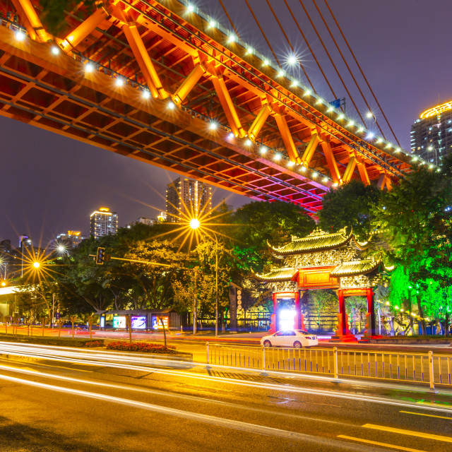 """""""View of Masangxi Bridge and buildings near Arhat Buddhist Temple at dusk in..."""" stock image"""