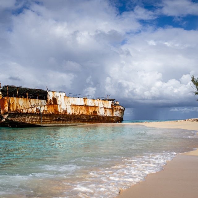 """Mega One Triton Ship Wreck in Grand Turk"" stock image"