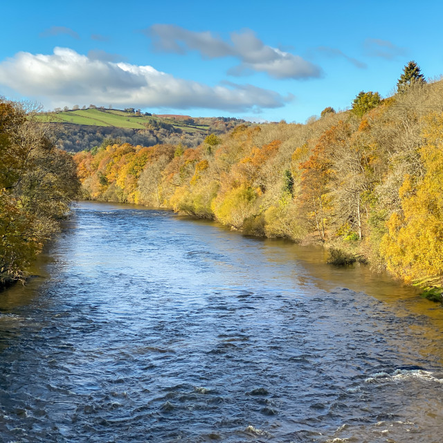 """""""Scenic landscape view of river in autumn colours"""" stock image"""