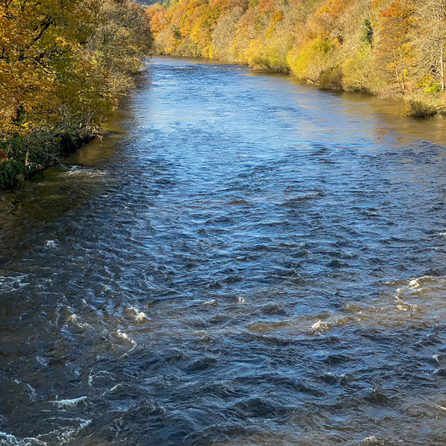 """""""Scenic view of river in autumn colours"""" stock image"""
