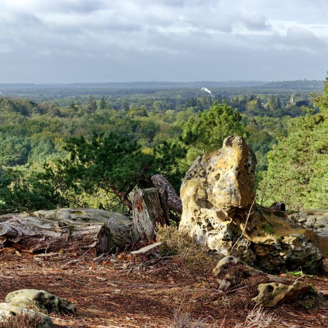 """Restant du long rocher panorama"" stock image"