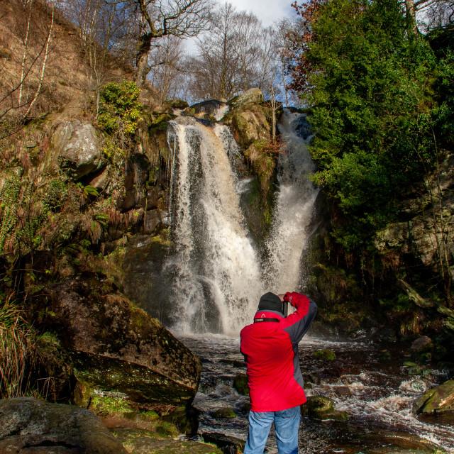 """Taking Photographs at Posforth Gill Falls, Bolton Abbey Estate"" stock image"