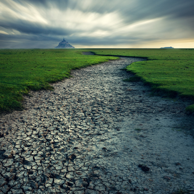 """""""Path to The Mont Saint Michel, Normandy, France"""" stock image"""
