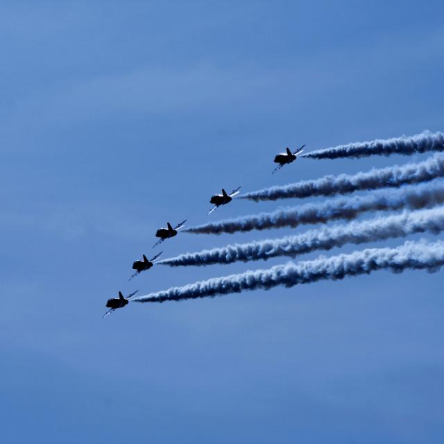"""Red Arrows aerobatic display team"" stock image"