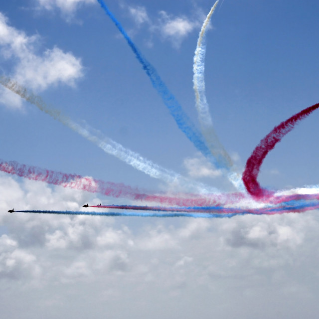 """""""The Red Arrows aerobatic display team"""" stock image"""