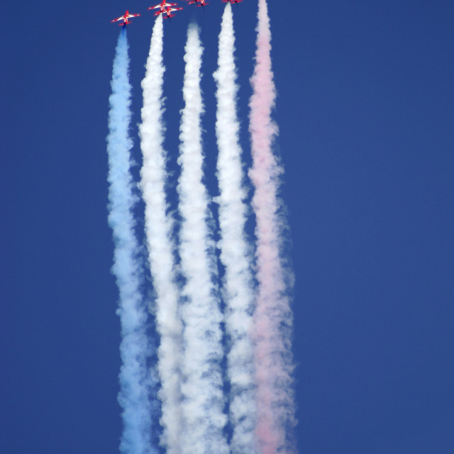 """""""Red Arrows formation flying"""" stock image"""