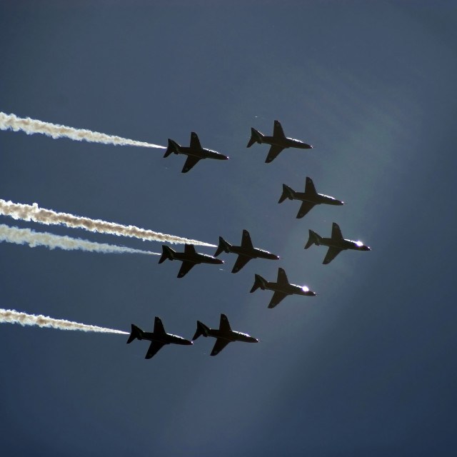 """""""The Red Arrows flying in formation"""" stock image"""