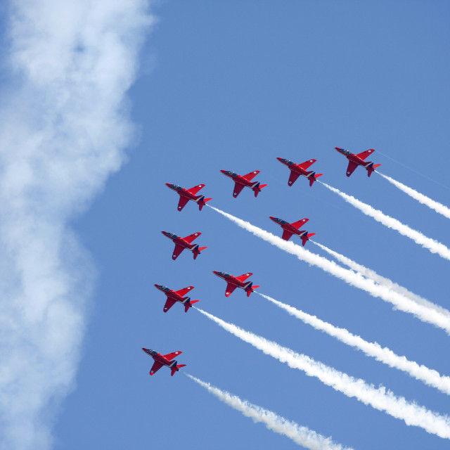 """""""The Red Arrows formation flying"""" stock image"""
