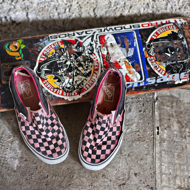 """""""Old skateboard"""" stock image"""