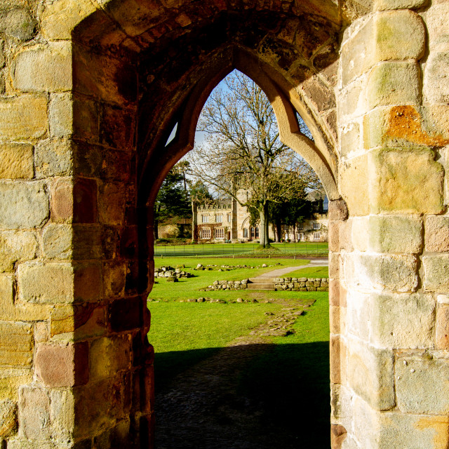 """""""Archway with Bolton Abbey Hall in background"""" stock image"""