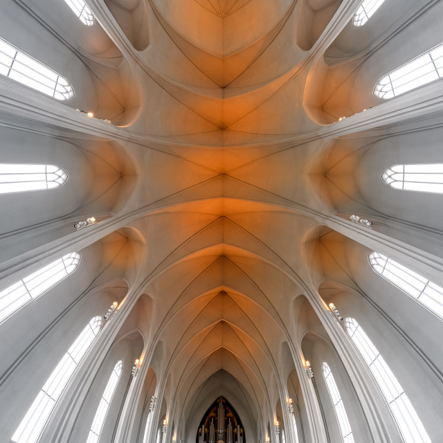 """Beautiful vault of the Hallgrimur Church in Reykjavik Iceland"" stock image"