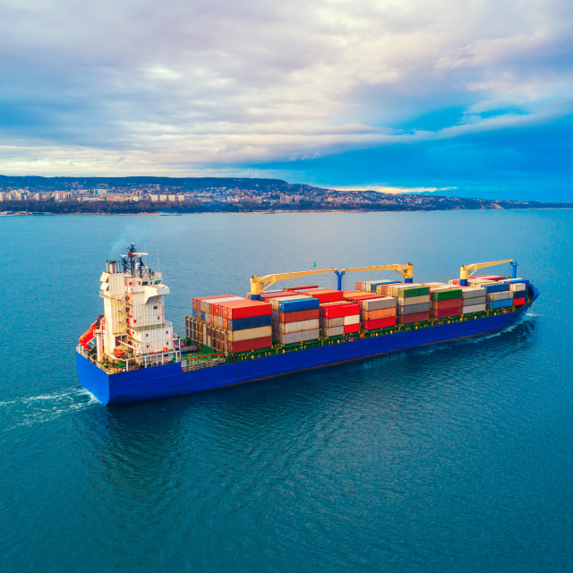 """Container ship in the sea. Aerial view"" stock image"