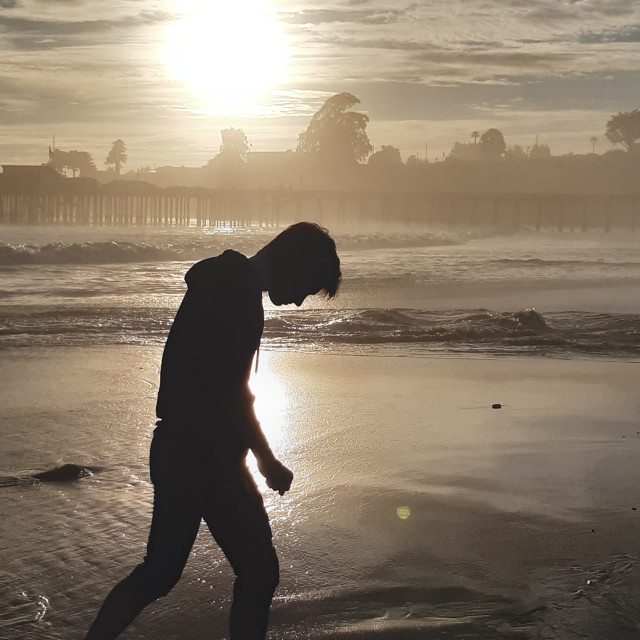 """Walking on Capitola Beach"" stock image"
