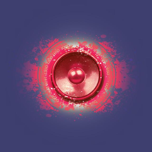 """""""Degraded red music speaker"""" stock image"""