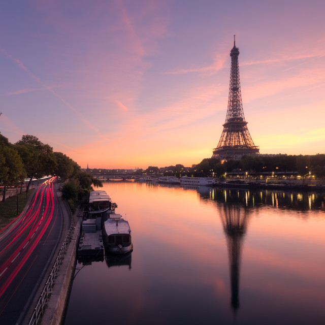 """""""Eiffel Tower and the Seine river at Sunrise, Paris, France"""" stock image"""