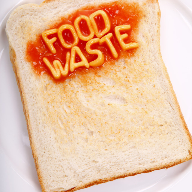 """The words food waste spelled out with alphabet spaghetti on a piece of toast"" stock image"