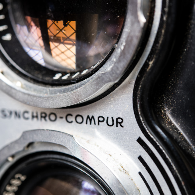 """Compur shutter name detail on vintage retro Rolleiflex photo cam"" stock image"