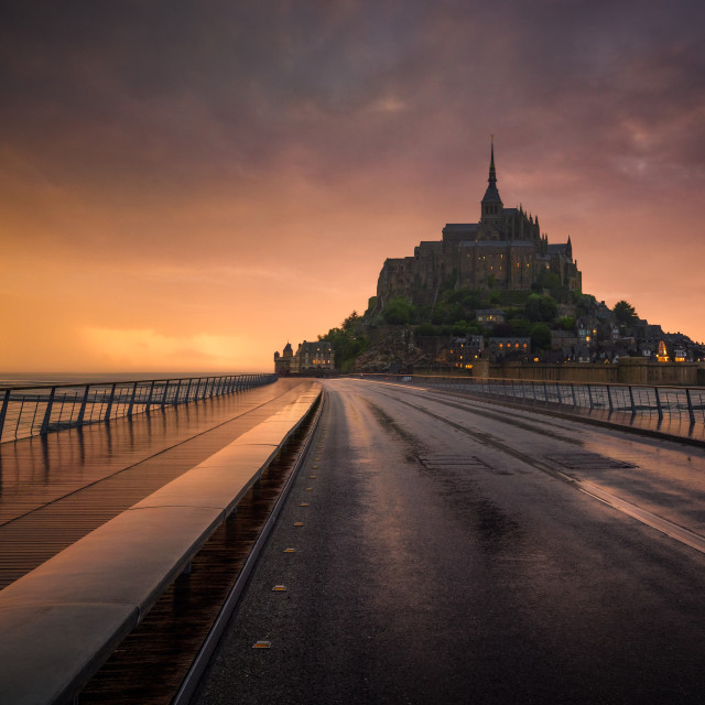 """""""The Mont Saint Michel at the sunset. Normandy, France"""" stock image"""