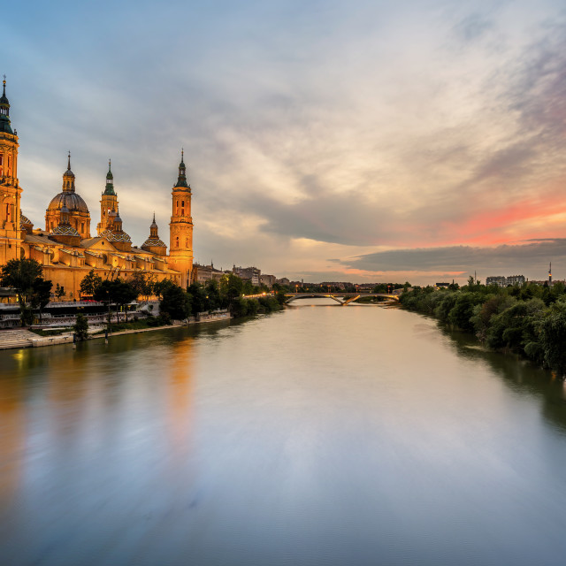 """Cathedral at Sunset, Zaragoza, Spain"" stock image"