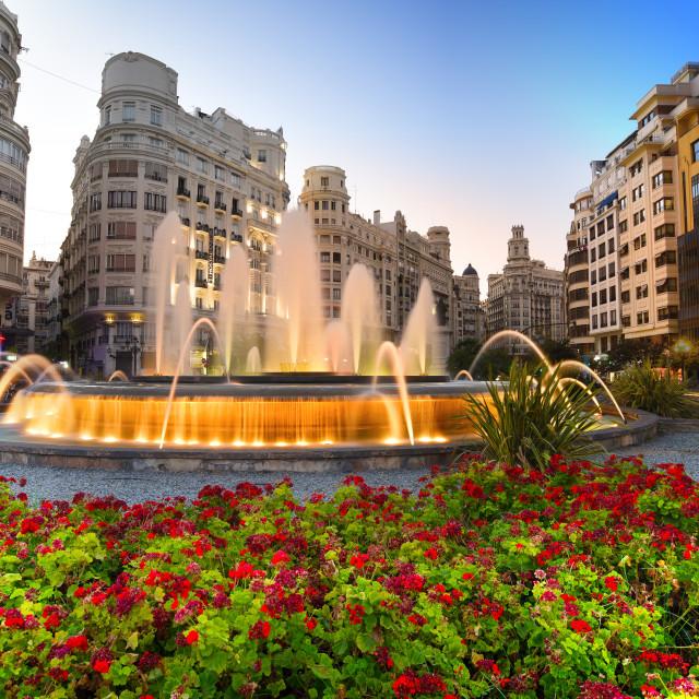 """The city hall square at dusk, Valencia, Spain"" stock image"