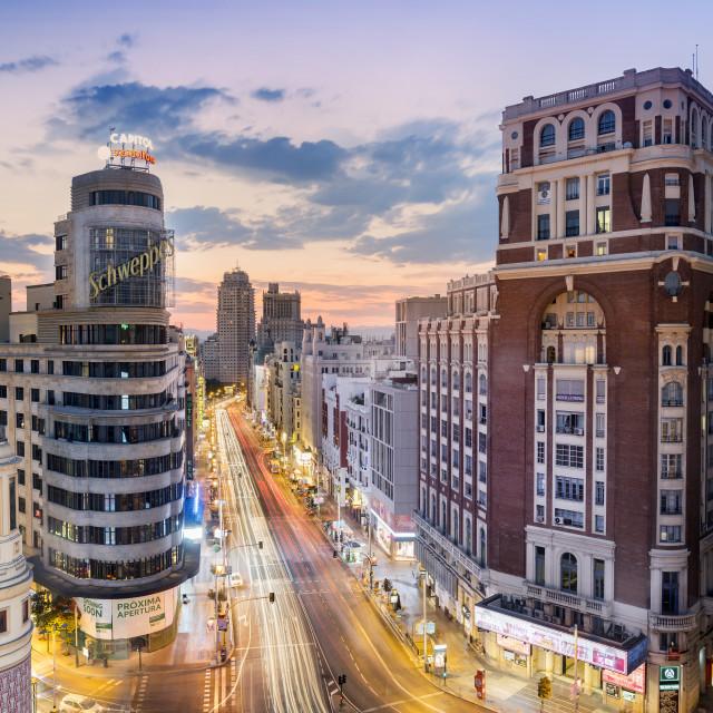 """Cityscape at Sunset, Gran Via, Madrid, Spain"" stock image"