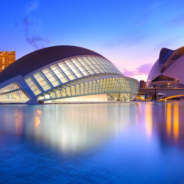 """""""The city of the Arts and Sciences at the blue hour, Valencia, Spain"""" stock image"""