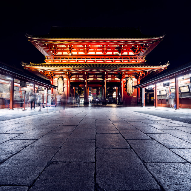 """Sensoji Temple at Night, Tokyo, Japan"" stock image"