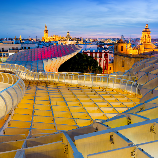 """""""Cityscape from the top of the Metropol Parasol Structure, Seville, Andalusia, Spain"""" stock image"""