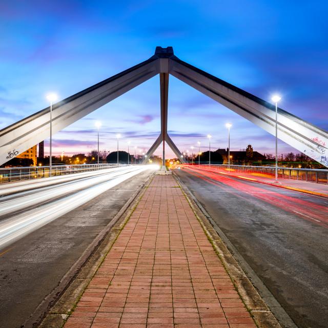 """""""Barqueta Bridge Over Guadalquivir River in Seville, Andalusia, Spain"""" stock image"""