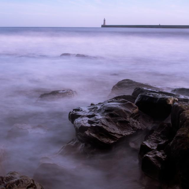 """""""Tynemouth Rocks and Pier"""" stock image"""