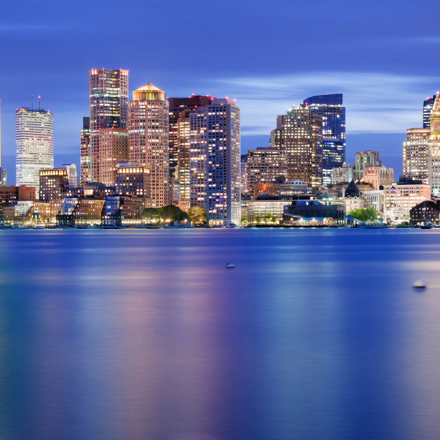"""""""Boston Downtown Skyline at Blue Hour"""" stock image"""