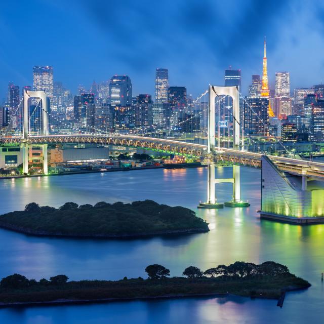 """Cityscape at the Rainbow Bridge, Tokyo, Japan"" stock image"
