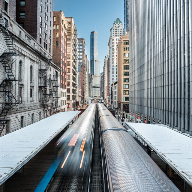 """""""Cityscape over the metro railway in the Loop district, Chicago, Illinois, United States"""" stock image"""