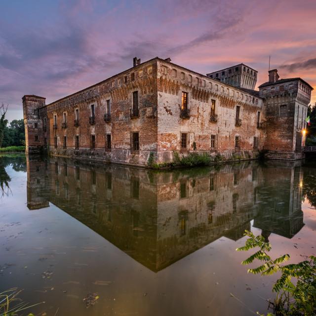 """Padernello castle at sunset, Brescia, Italy"" stock image"